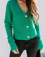 Lovey Button Front Knit Cardigan - Green view 5