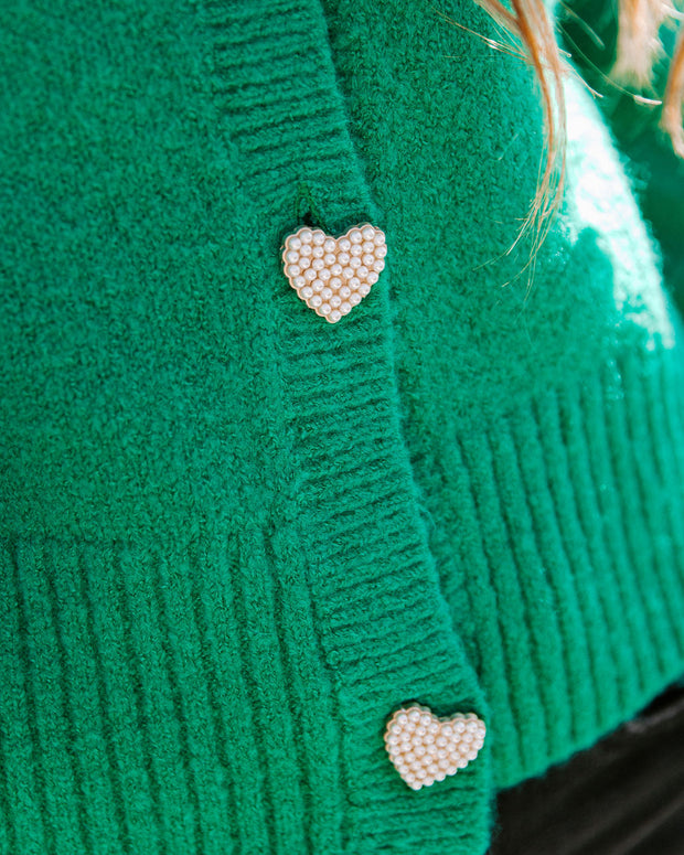 Lovey Button Front Knit Cardigan - Green view 4