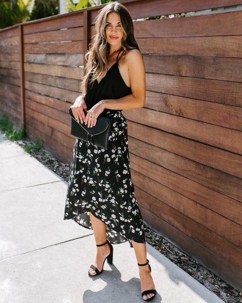 Set Her Free Floral High Low Wrap Skirt - FINAL SALE