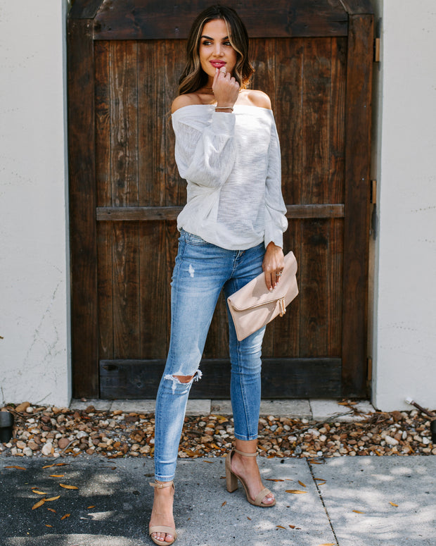 Staycation Off The Shoulder Dolman Sweater - Off White