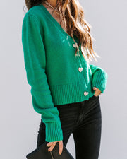 Lovey Button Front Knit Cardigan - Green view 9