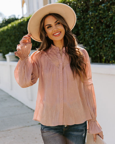 Rafael High Sheen Lace Button Down Blouse