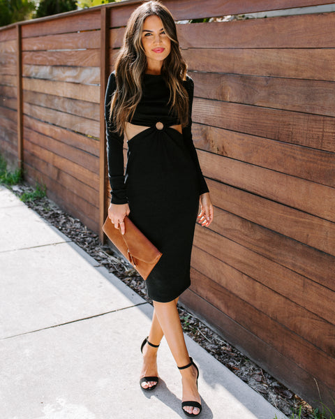 Truth Be Bold Long Sleeve Ribbed Cutout Midi Dress - FINAL SALE