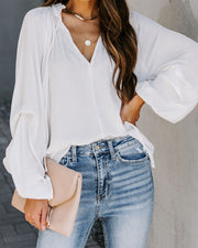 Flirtatious Billowed Satin Blouse - Ivory