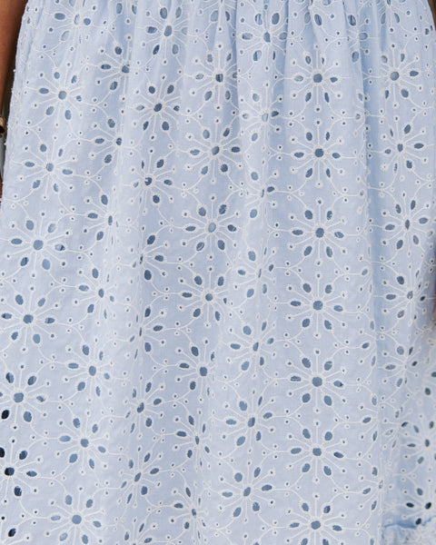 Ollie Cotton Eyelet Midi Dress - Light Blue