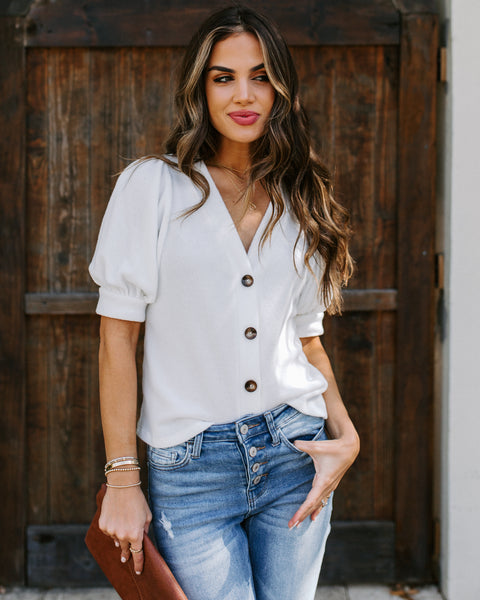 For Your Love Button Down Knit Top - Off White