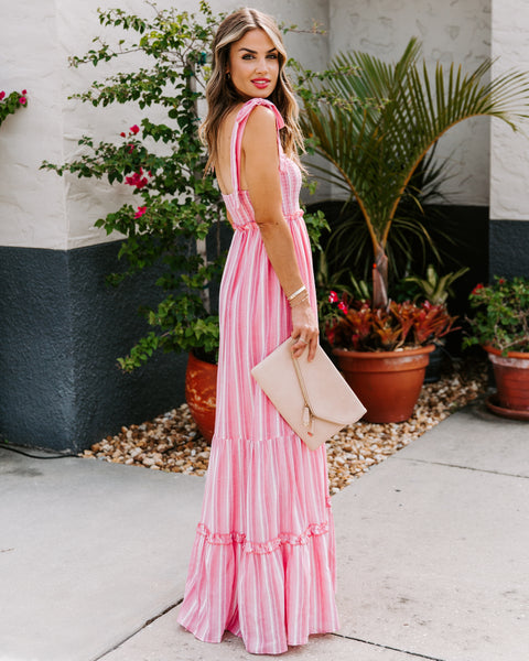 Where Hope Lies Cotton Smocked Striped Maxi Dress
