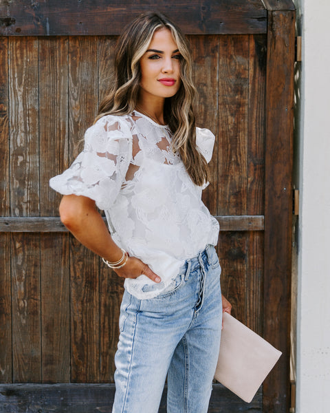 Bermuda Lace Puff Sleeve Blouse