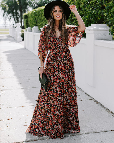 Neighborly Floral Kimono Maxi Dress
