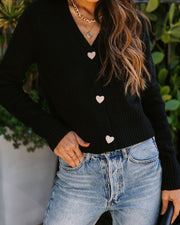 Lovey Button Front Knit Cardigan - Black view 5
