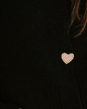 Lovey Button Front Knit Cardigan - Black view 4
