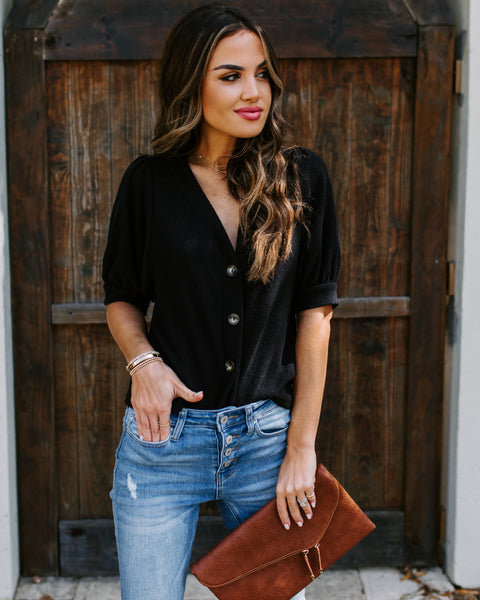 For Your Love Button Down Knit Top - Black