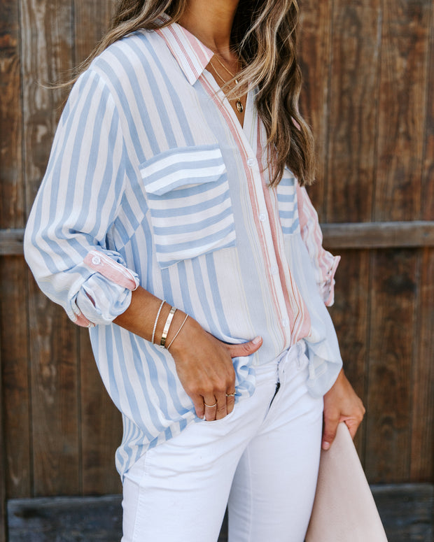Puerto Rico Striped Button Down Top