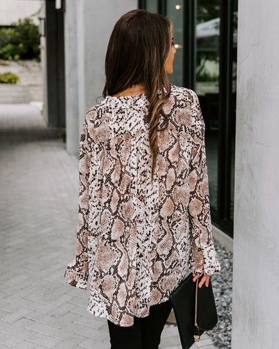 Nina Python Button Down Blouse