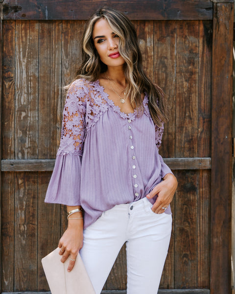 Kami Crochet Lace Button Down Top - Mauve