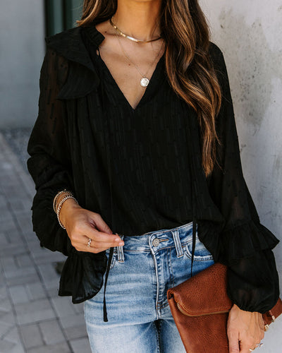 Lips Of An Angel Textured Shimmer Blouse - Black