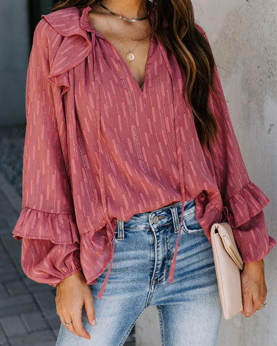 Lips Of An Angel Textured Shimmer Blouse - Rose
