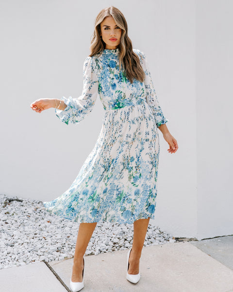 Tempe Floral Ruffle Midi Dress
