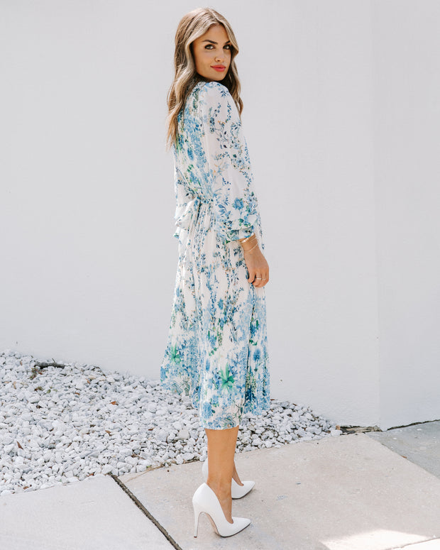 Tempe Floral Ruffle Midi Dress - Blue