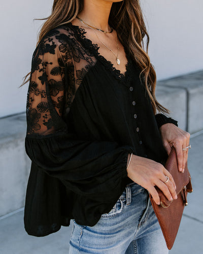 Disposition Lace Button Down Blouse