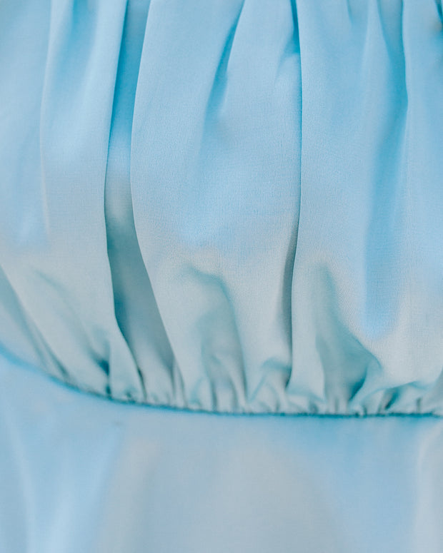 Ezra Satin Ruched Crop Top - Crystal Blue - FINAL SALE