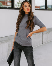 Kashmira Mock Neck Knit Top - Charcoal