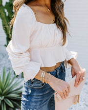 Ezra Satin Ruched Crop Top - Ivory