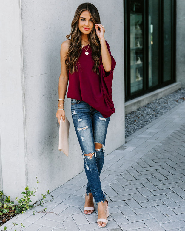 Shower With Love One Shoulder Blouse - Wine