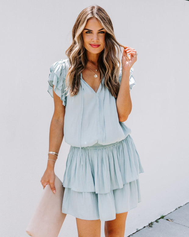 Pierre Satin Smocked Ruffle Dress
