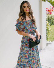Chicory Floral Off The Shoulder Ruffle Maxi Dress