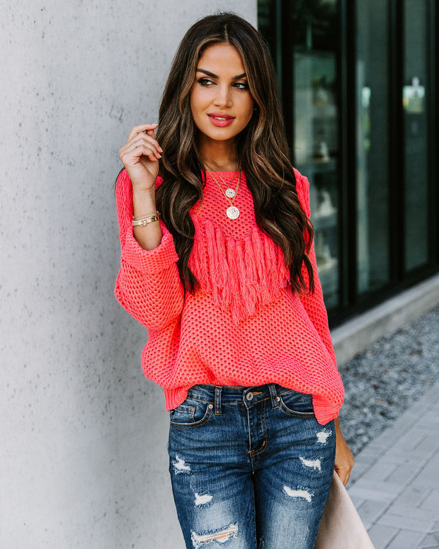 Rudeneja Cotton Blend Fringe Knit Sweater - Coral