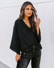 Karly Woven Cowl Neck Top - Black - FINAL SALE