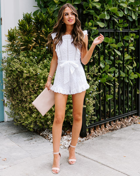 Riverside Ruffle Eyelet Romper - White - FINAL SALE