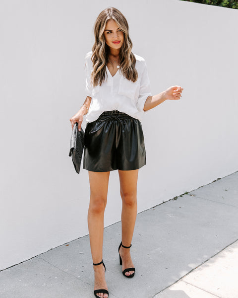 Triple Threat Pocketed Faux Leather Shorts