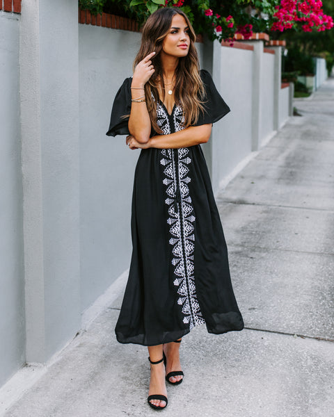 Presidio Embroidered Tassel Dress - Black