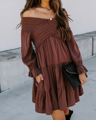 Sev Pocketed Smocked Off The Shoulder Dress - Mocha
