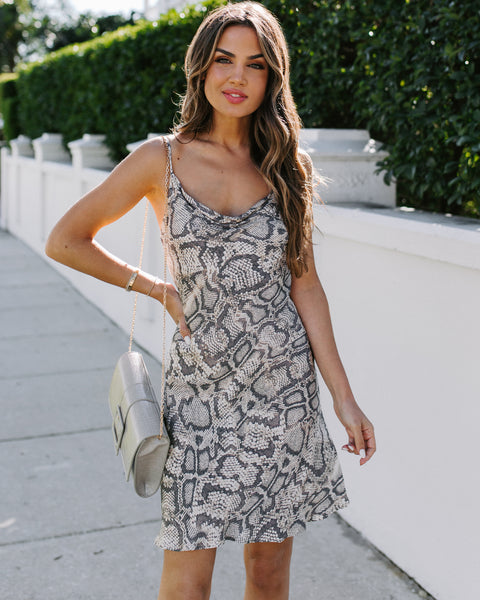 Never Leave Your Side Python Slip Dress
