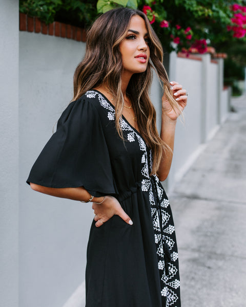Presidio Embroidered Tassel Dress - Black - FINAL SALE