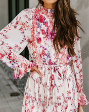 Tempe Floral Ruffle Midi Dress - Burgundy