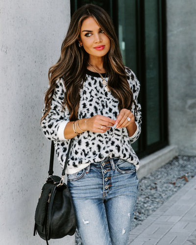 Purr-Adise Leopard Knit Sweater