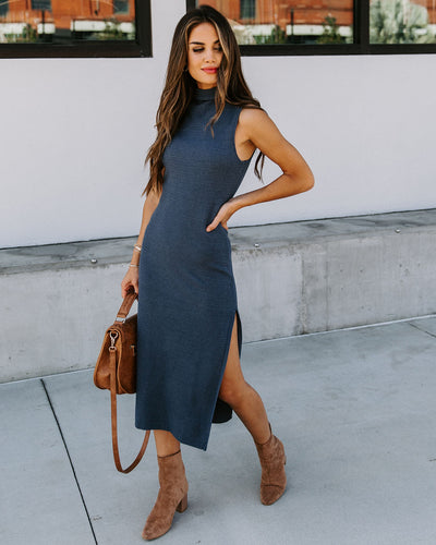 Feeling Blue Mock Neck Sleeveless Knit Midi Dress