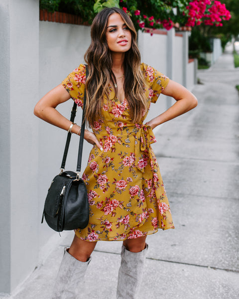 Femininity Floral Wrap Dress
