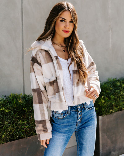 Fine Company Pocketed Faux Fur Plaid Crop Jacket