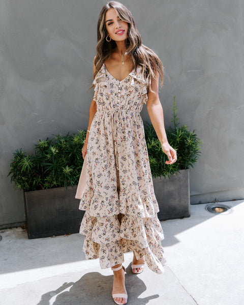 Kindness Wins Floral Ruffle Tiered Midi Dress