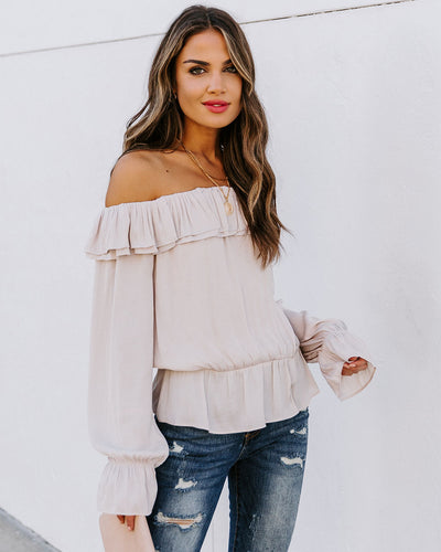 Cabernet Satin Off The Shoulder Blouse - Oat
