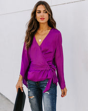 Allegro Satin Bell Sleeve Wrap Blouse - Fuchsia