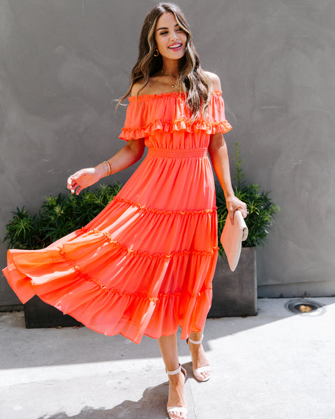 Instrumental Off The Shoulder Ruffle Midi Dress - Coral Orange