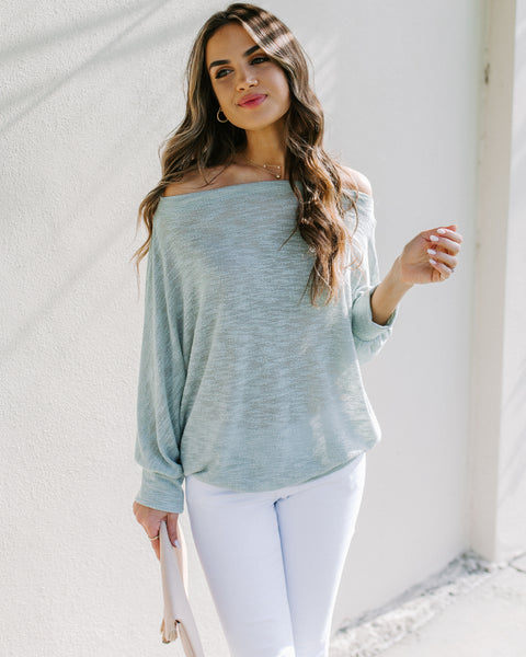 Staycation Off The Shoulder Dolman Sweater - Mint