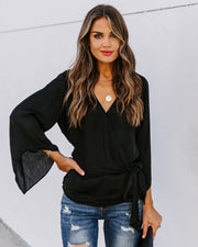 Allegro Satin Bell Sleeve Wrap Blouse - Black