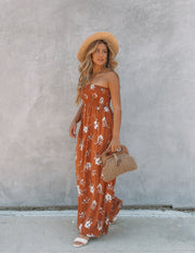Farhan Floral Strapless Smocked Maxi Dress - Rust view 5